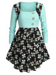 Plus Size Two Tone Buttons Floral Peplum T Shirt -