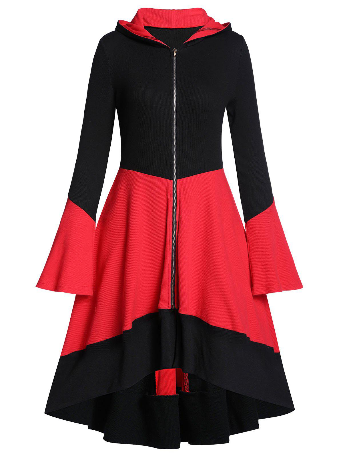 Online Hooded Two Tone Zip Up Long A Line Coat