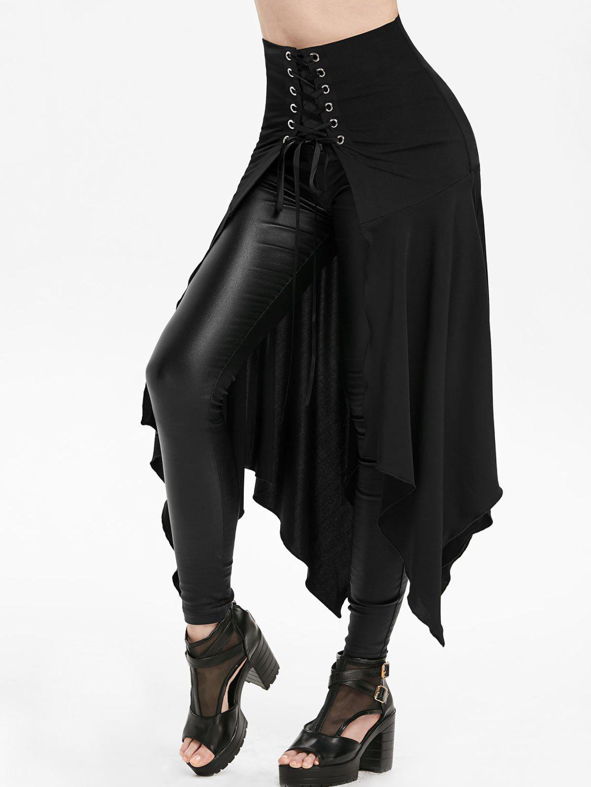 Outfits High Waisted Lace-up Slit Front Asymmetric Skirt