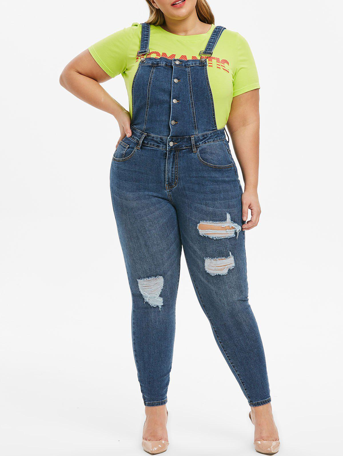 Fashion Plus Size Ripped Pocket Dungarees