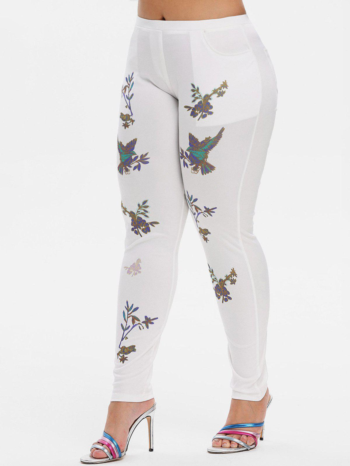 Fashion Mid Rise Leaves Floral Plus Size Skinny Pants