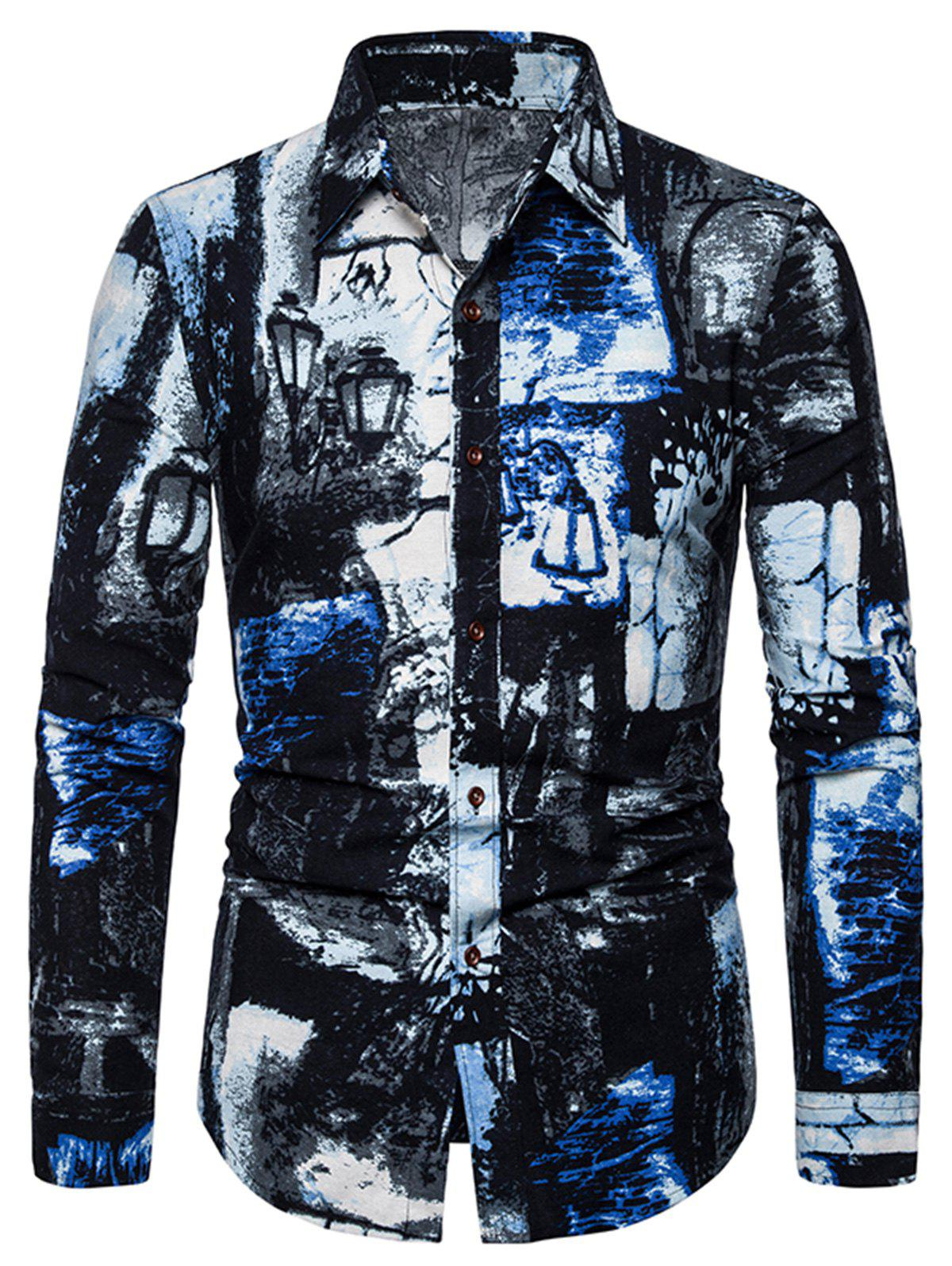 Cheap Ink Painting Print Button Long Sleeve Shirt