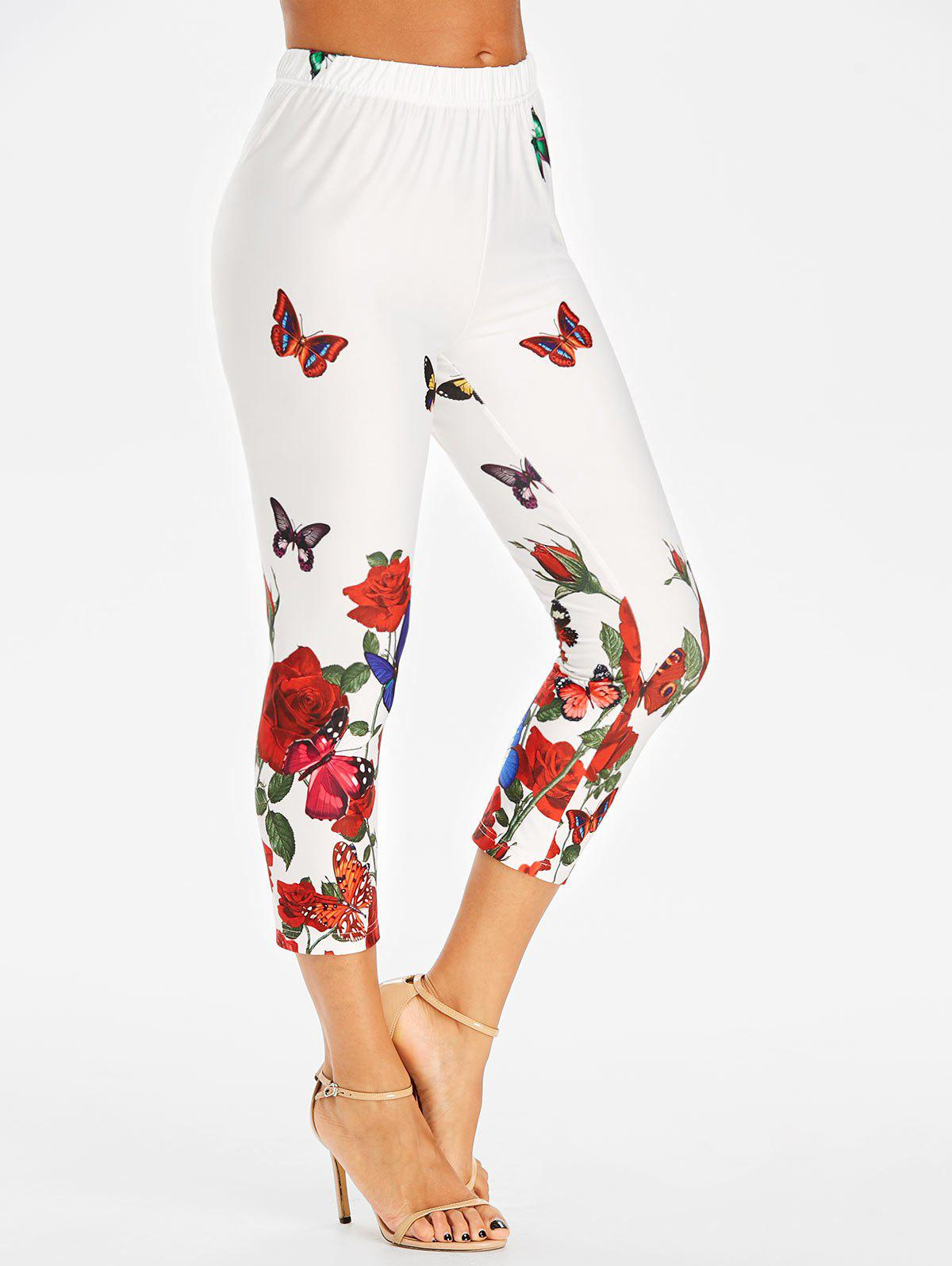 Cheap High Rise Butterfly Print Cropped Leggings