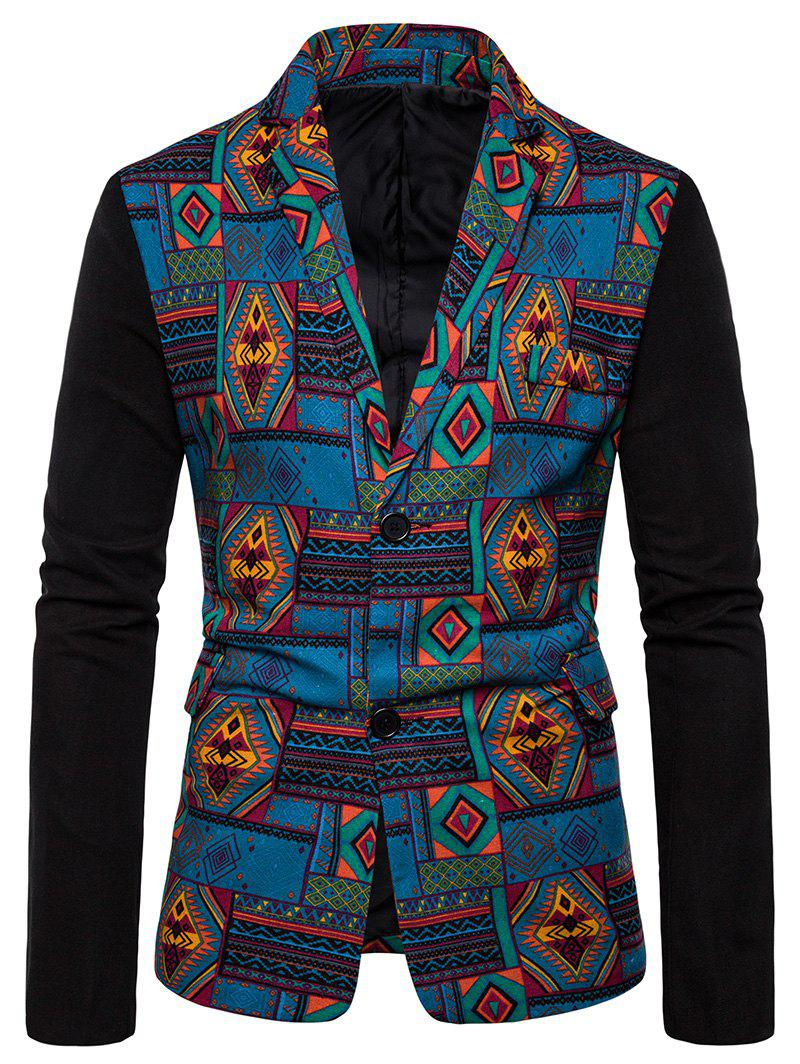 Fancy Tribal Geometric Spliced Print Color Block Blazer