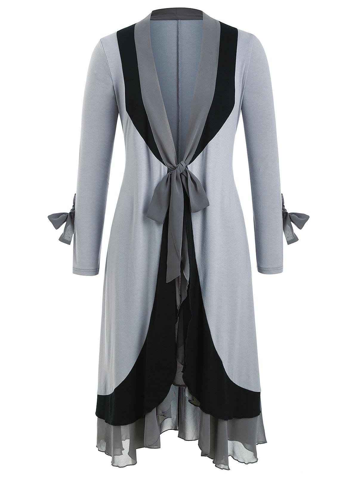 Cheap Tie Front Chiffon Panel Ruffles Plus Size Duster Coat