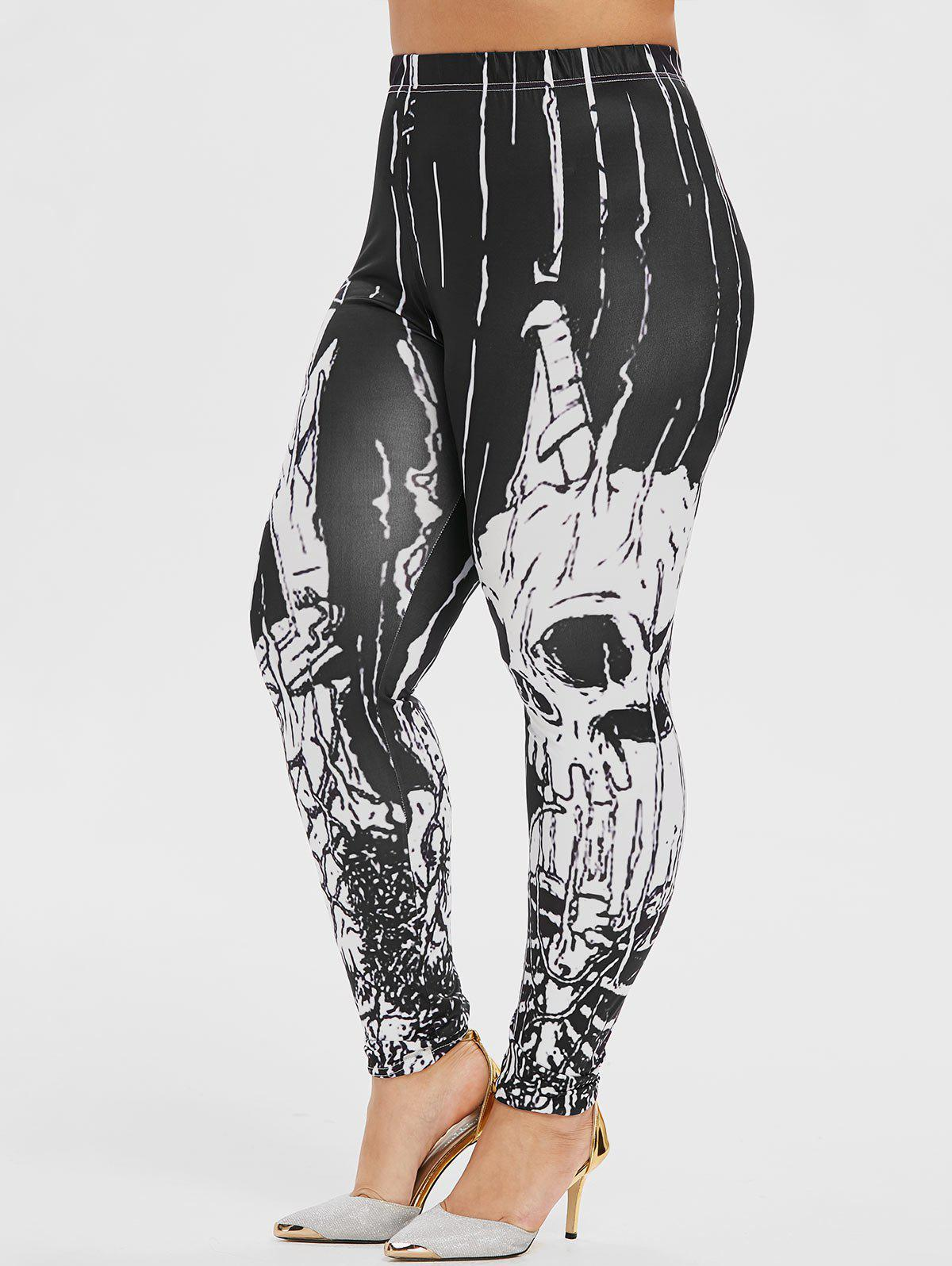 Hot Plus Size Skeleton Print Halloween Gothic Leggings