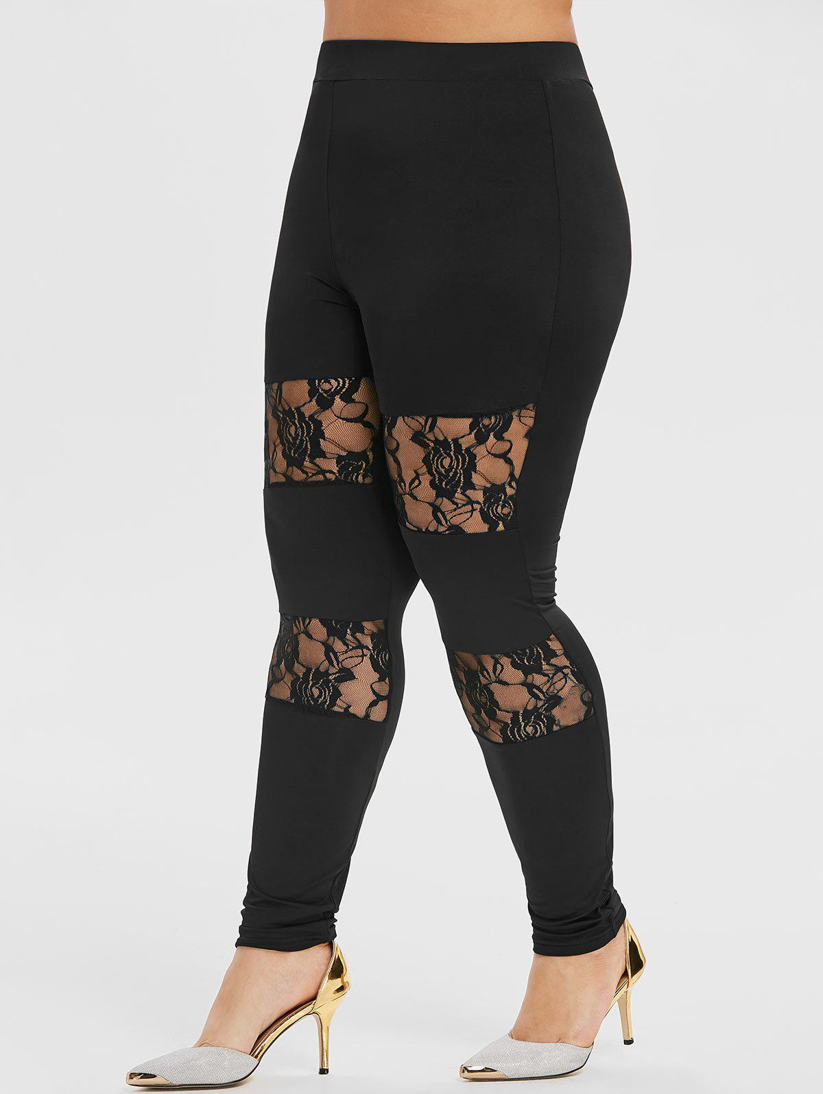 Sale Plus Size High Waisted Rose Lace Skinny Leggings