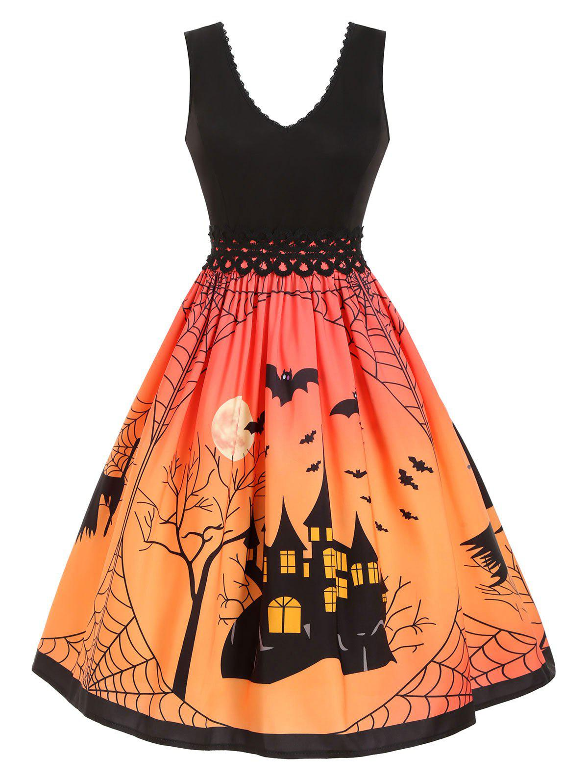 Outfit Plus Size Halloween Spider Web Pumpkin Vintage Swing Dress