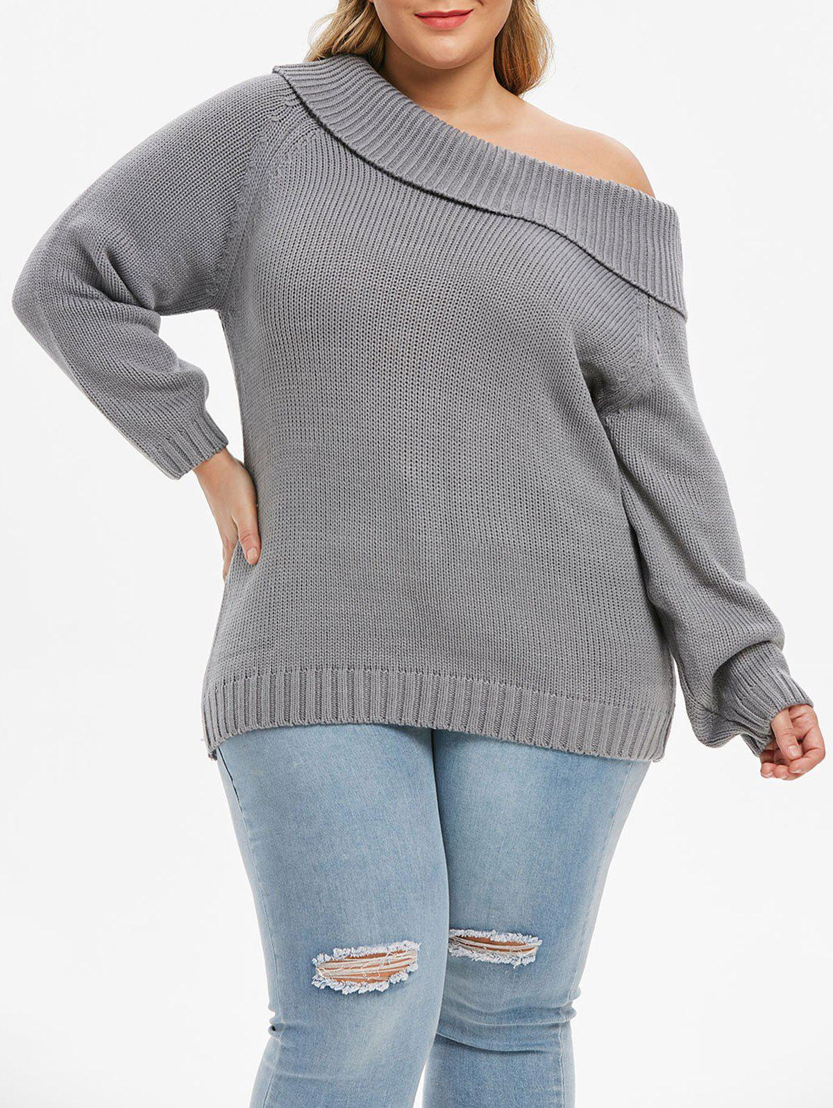Shop Plus Size Chunky Foldover Skew Collar Sweater
