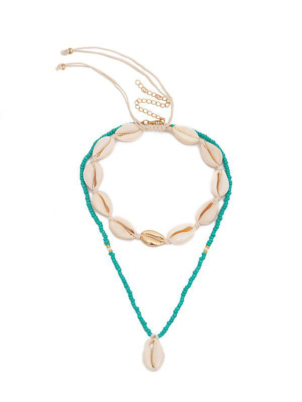Online Drawstring Shell Beaded Layered Necklace