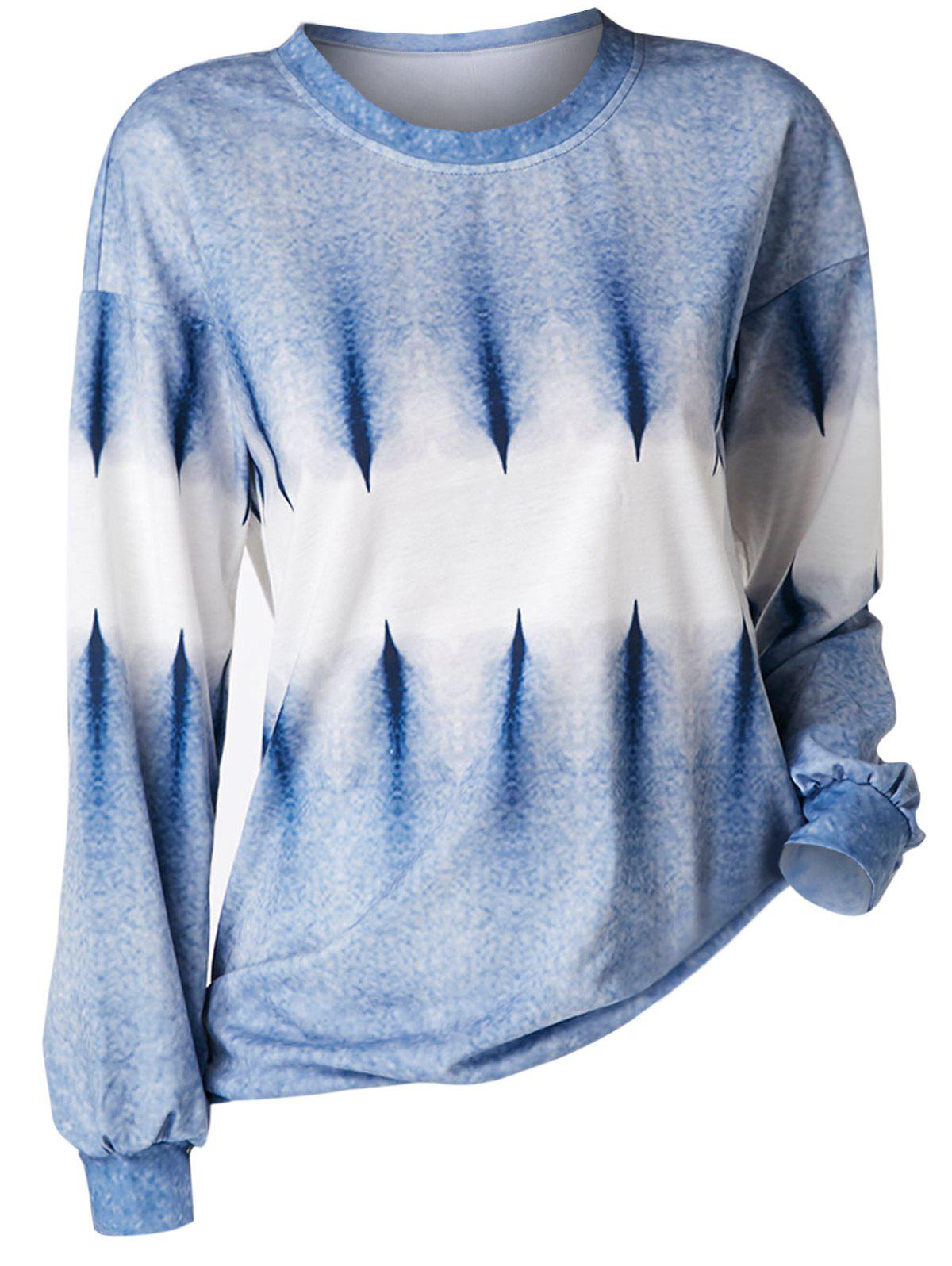Outfits Plus Size Crew Neck Tie Dye Sweatshirt