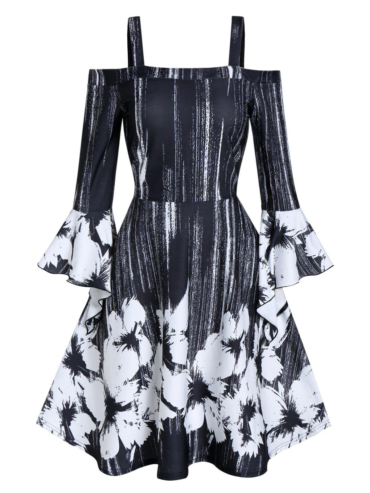 Shops Open Shoulder Ditsy Print Fit And Flare Dress