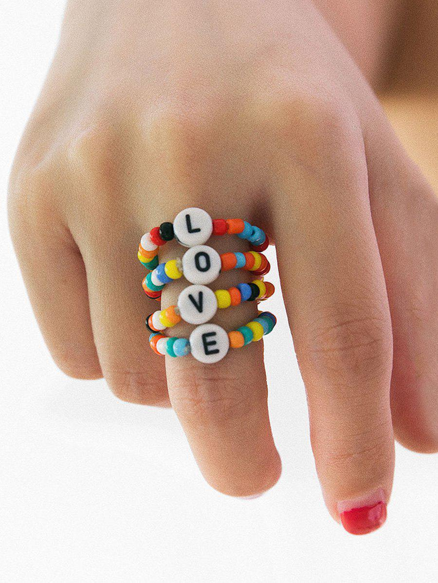 Colored Beaded Letter Design Ring Set, Multi-a