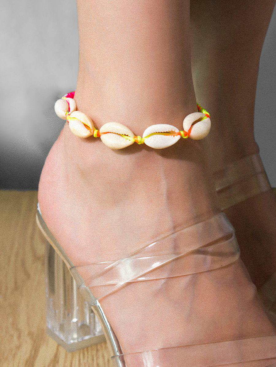 Fancy Beach Shell Adjustable Rope Anklet