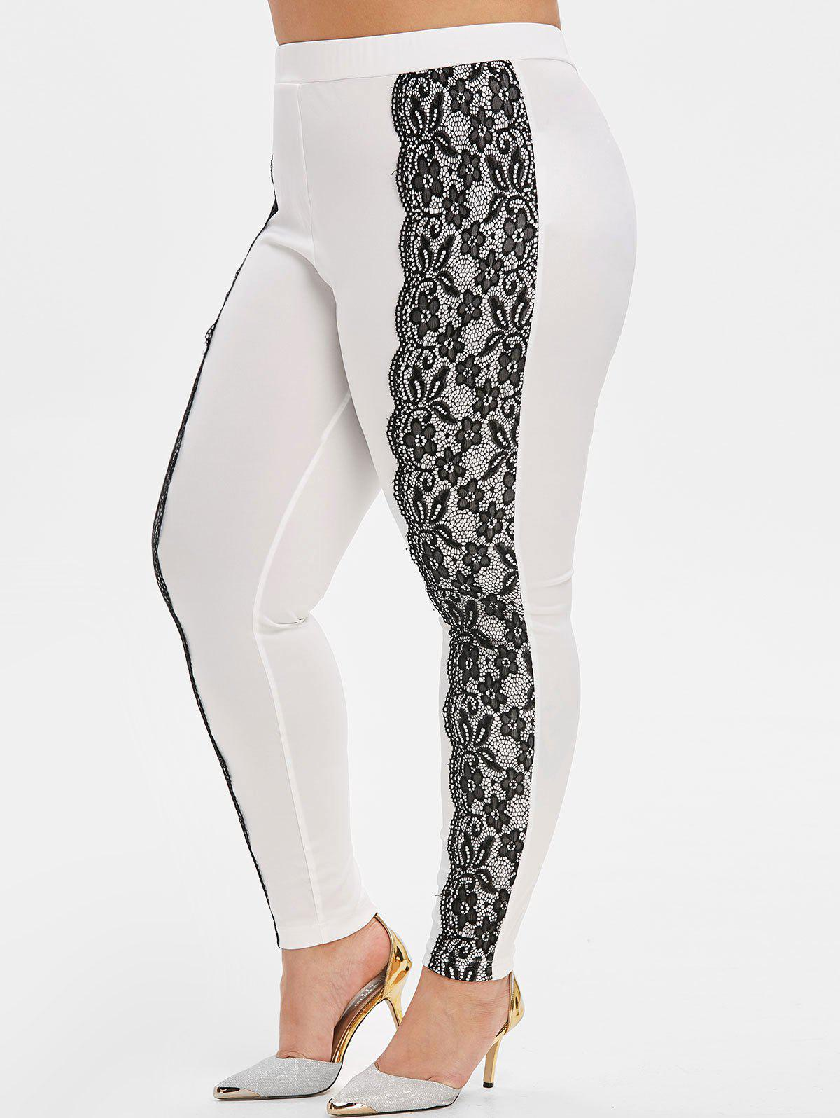 Outfit Plus Size Flower Lace Scalloped High Waisted Skinny Pants