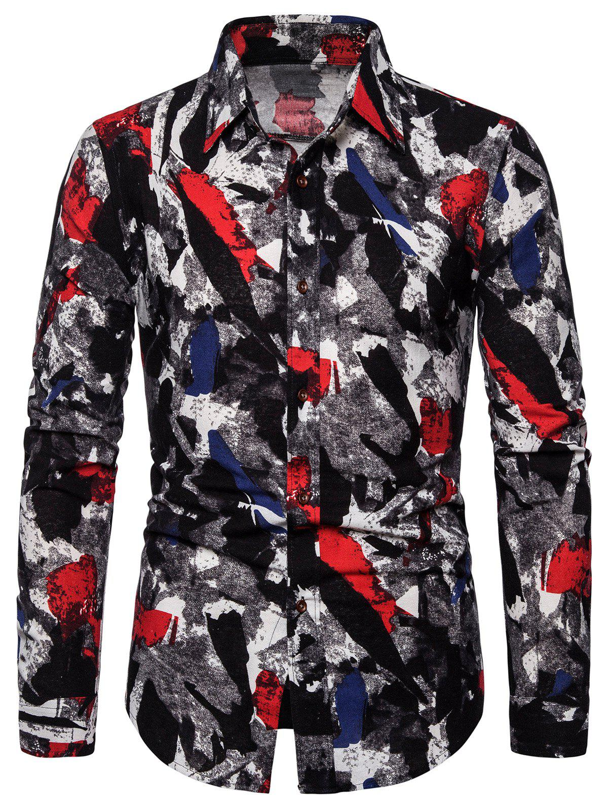 Shop Long Sleeve Curved Hem Abstract Print Casual Shirt