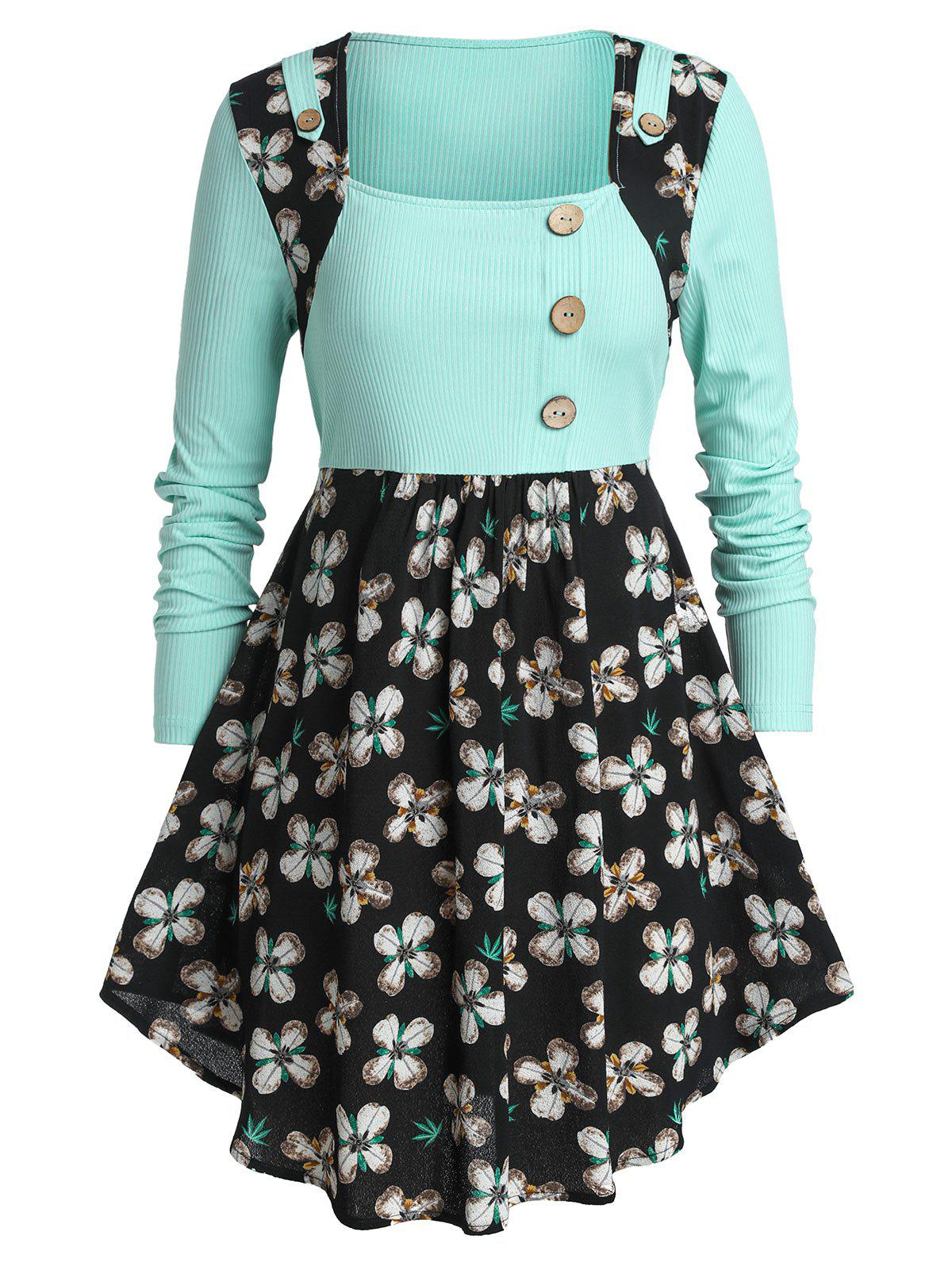 Best Plus Size Two Tone Buttons Floral Peplum T Shirt