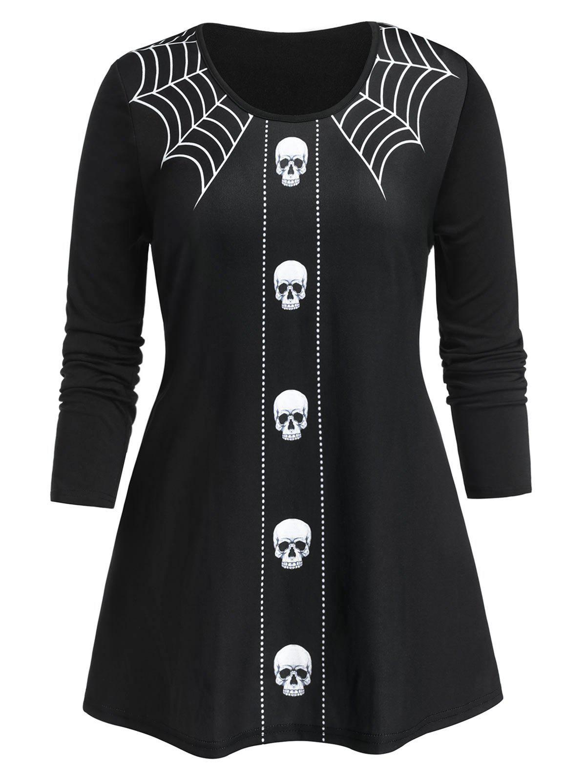 Affordable Plus Size Halloween Skull Spider Web A Line Tunic Tee