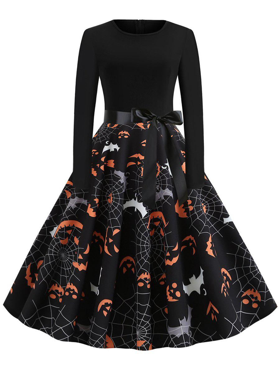 Plus Size Retro Printed Halloween Pin Up Dress