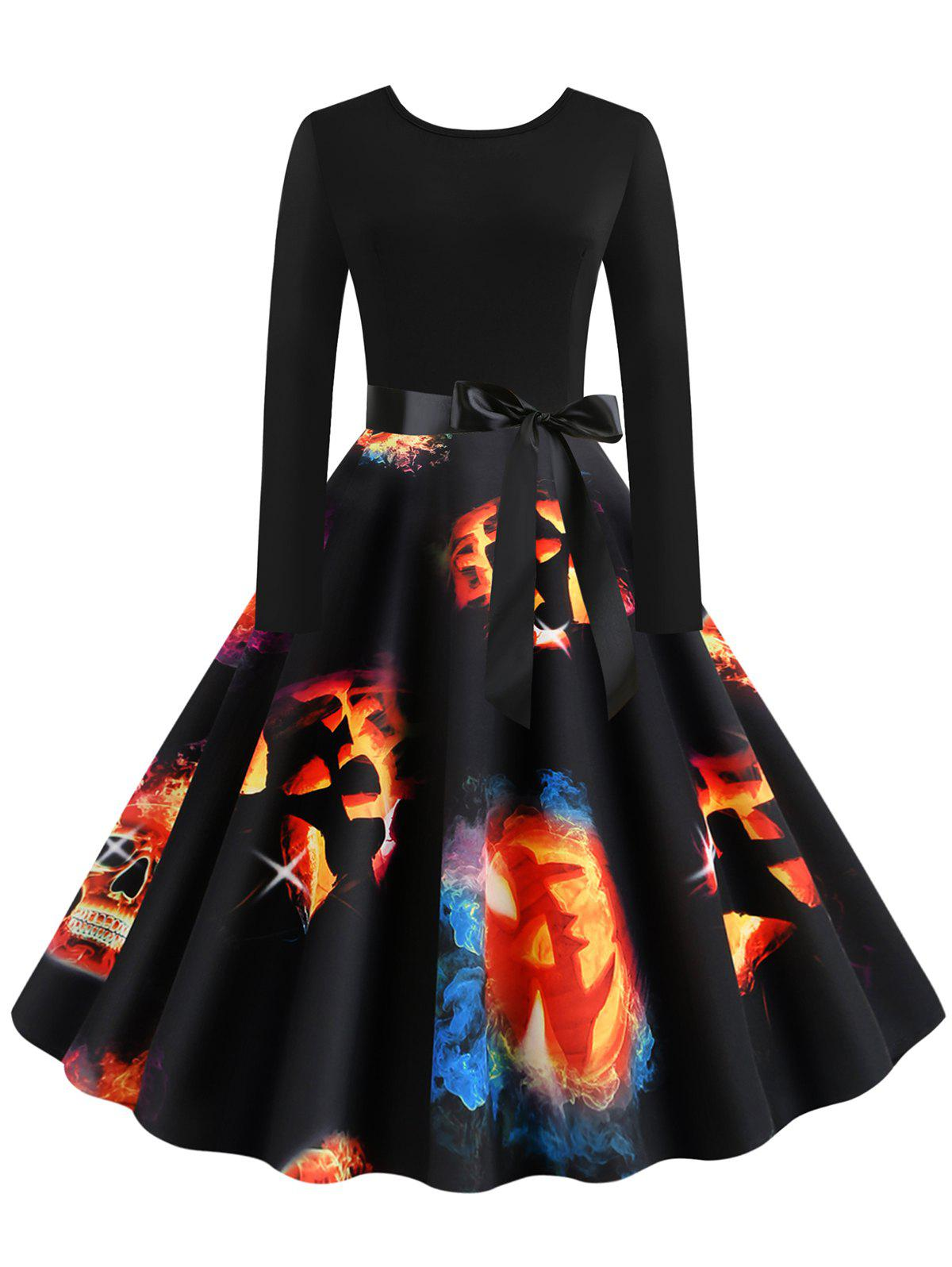New Halloween Pumpkin Print Long Sleeves Dress