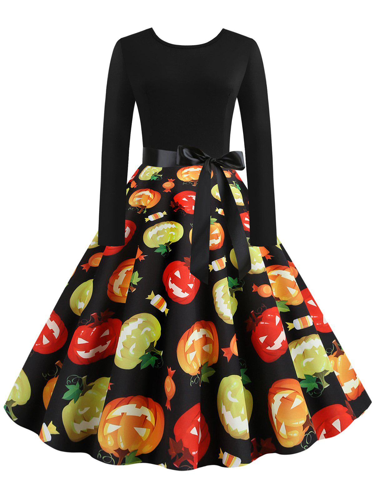 Online Halloween Pumpkin Candy Print Long Sleeve Dress