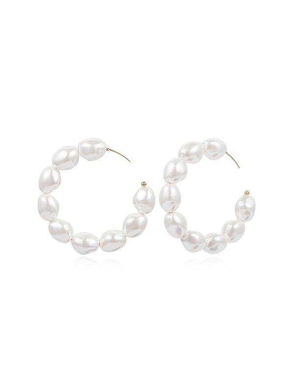 Outfit Round C Shape Faux Pearl Earrings