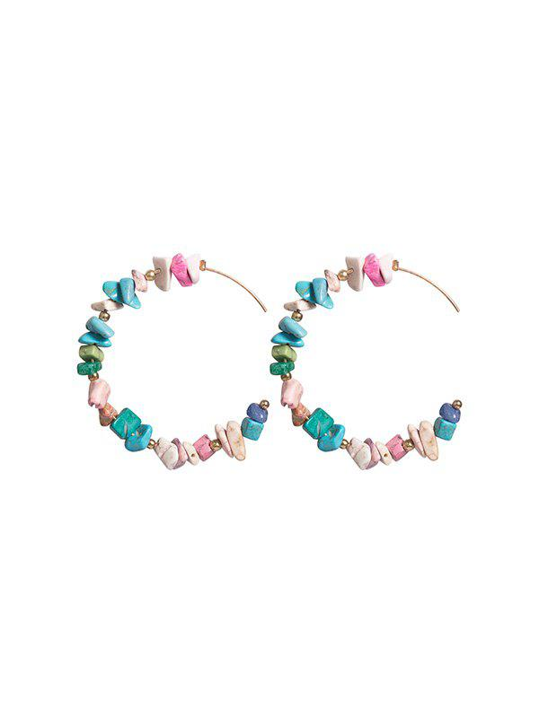 Cheap Irregular Stone Beaded C Shape Earrings