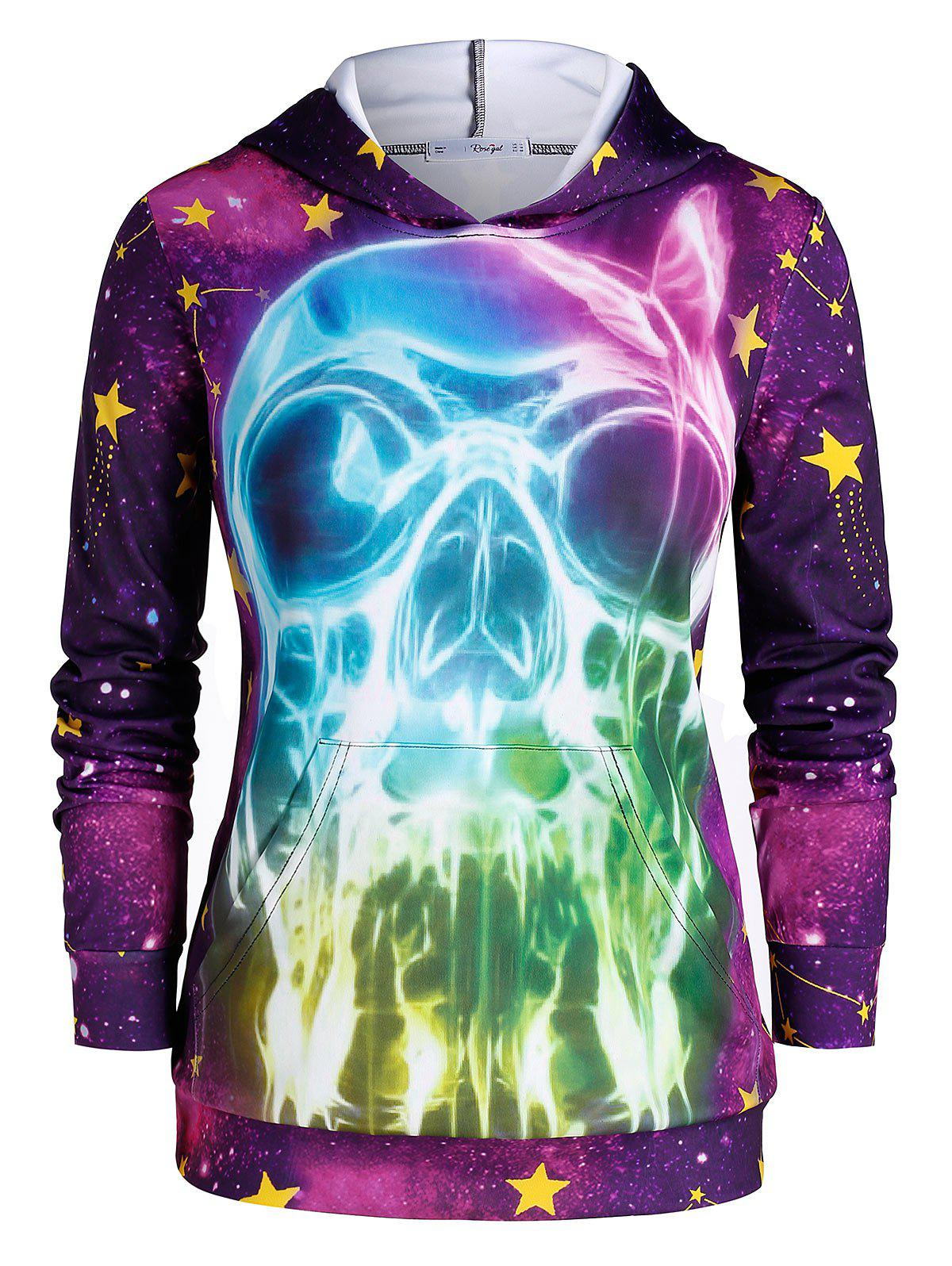 Hot Plus Size 3D Skull Print Galaxy Gothic Halloween Hoodie