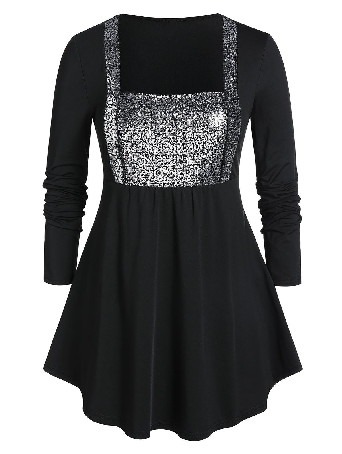 Affordable Plus Size Sequins Curved Peplum T Shirt