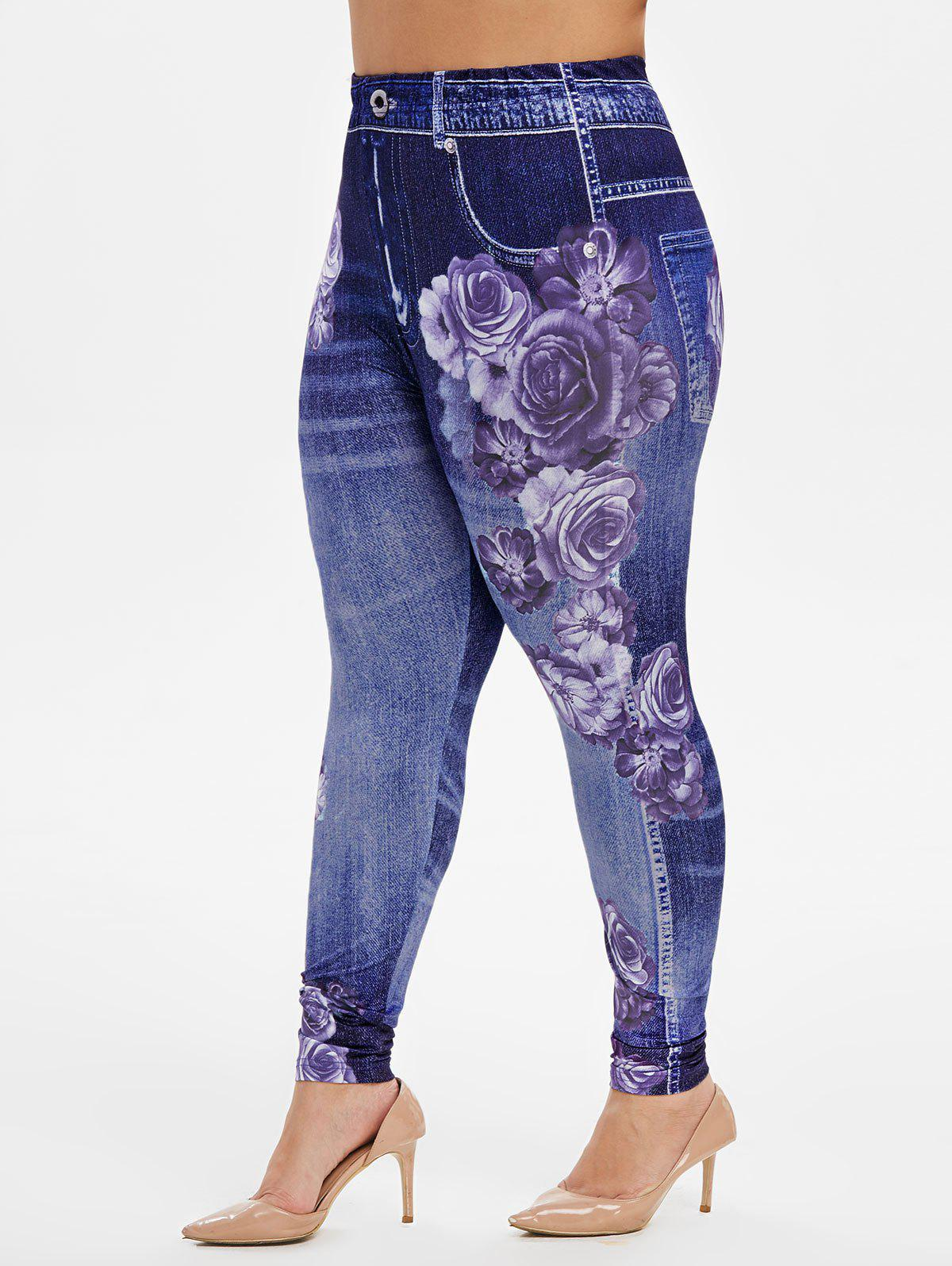 Affordable Plus Size High Rise Floral Gym Jeggings