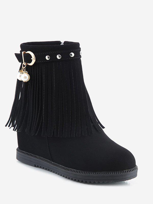 Fashion Hidden Heel Fringed Stud Strap Short Boots