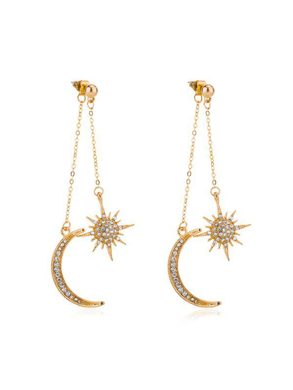 Online Rhinestone Moon Star Tassel Earrings