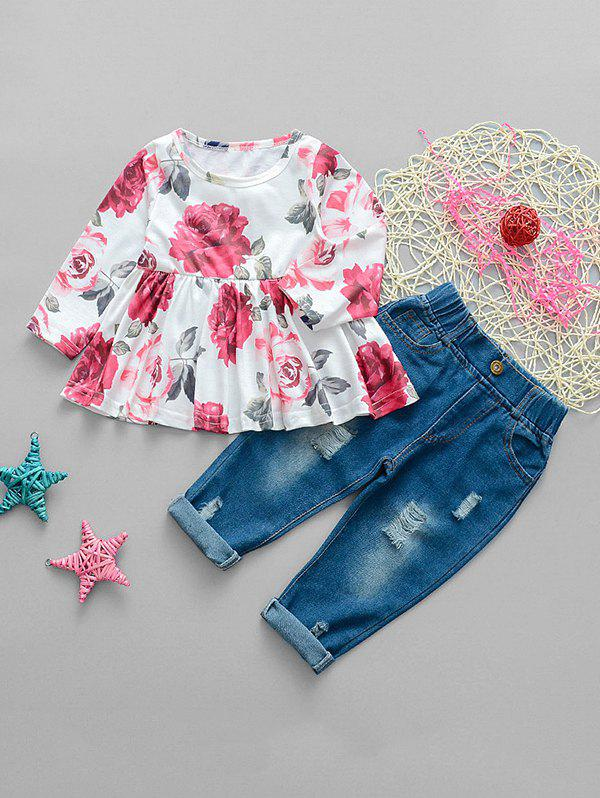 Chic Girls Floral Print Top And Ripped Jeans Set