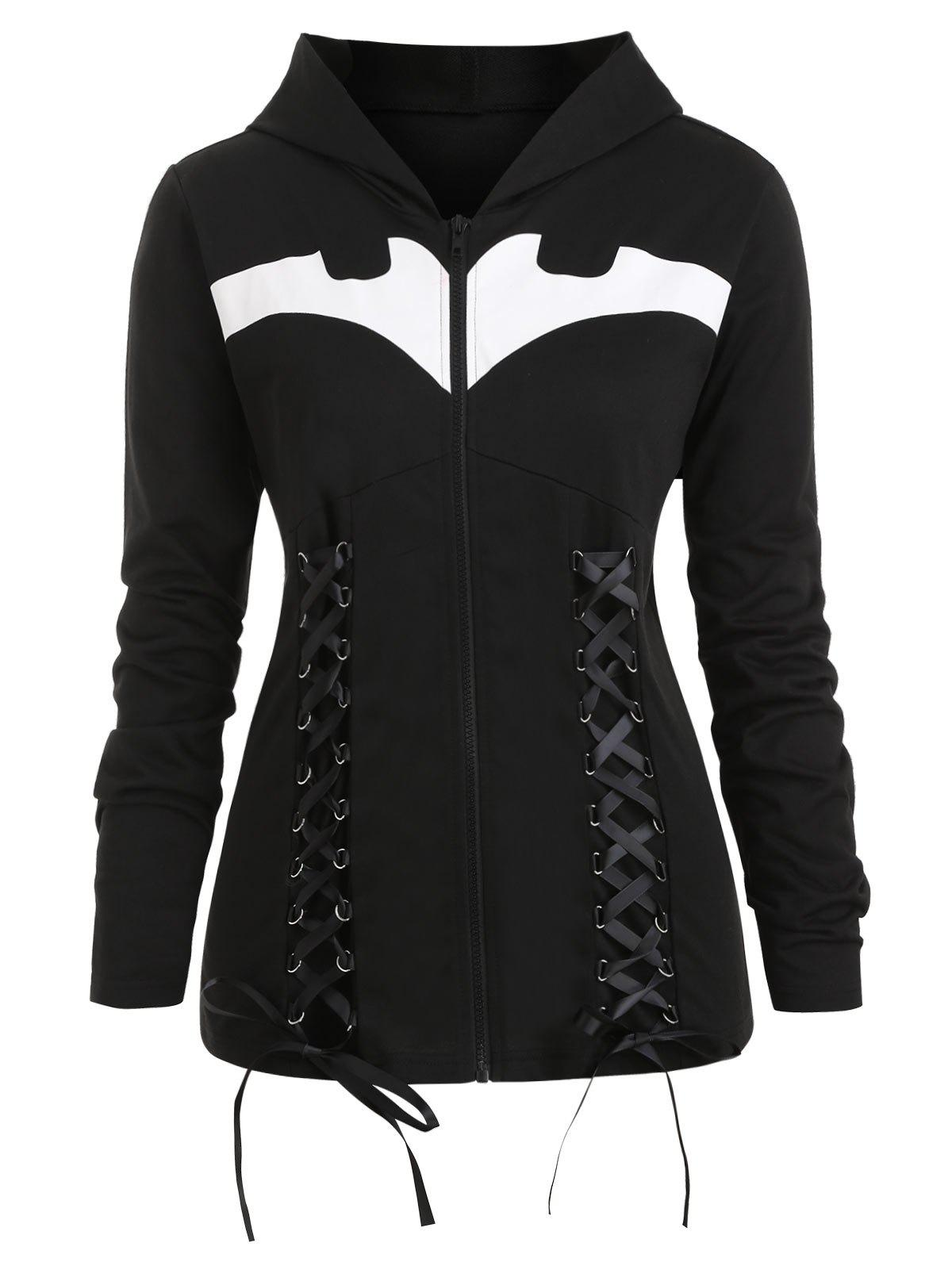 Shops Plus Size Lace-up Bat Print Halloween Jacket