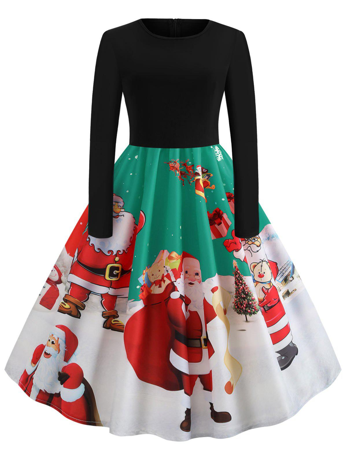 Sale Santa Claus Print Long Sleeve Christmas Dress