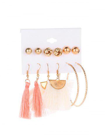 Metal Circle Tassel Earring Set