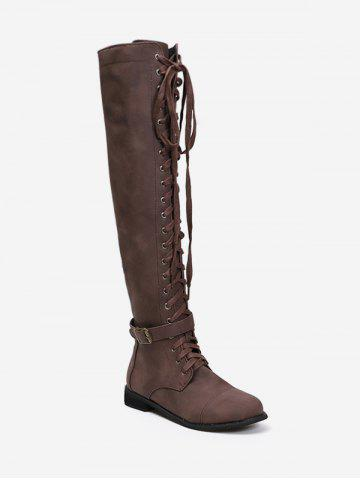 Accent | Buckle | Thigh | Boot | High | Lace | Up