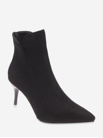 Plain Suede Mid Heel Ankle Boots