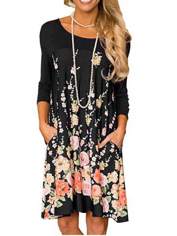Floral Long Sleeve A Line Tunic Dress