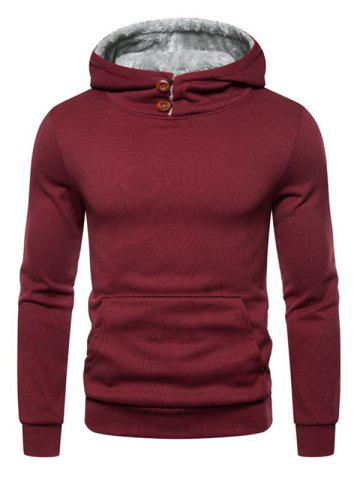 Button Kangaroo Pocket Fleece Hoodie