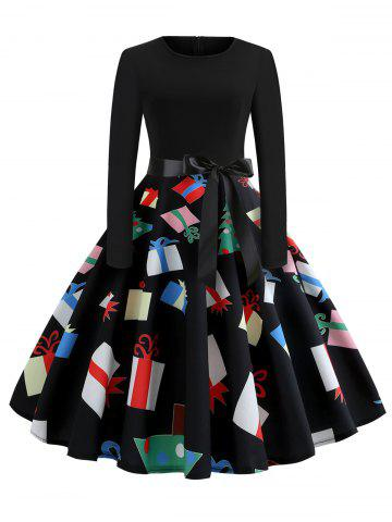 Christmas Printed Fit and Flare Long Sleeve Dress