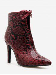 Bow Snakeskin Print Pointed Toe Ankle Boots -