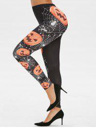 Halloween Pumpkin Print Skinny High Waisted Pants -