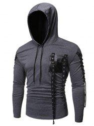 Gothic Grommet Lace Up Sleeve PU Chest Hoodie -