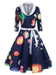 Planet Sun Moon Print Shawl Collar Dress -