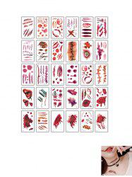 Halloween Accessories Disposable Funny Horror Scar Pattern Waterproof Tattoo Stickers -