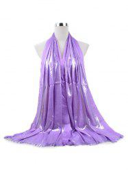 Tassel Cotton Gold Silk Solid Long Scarf -
