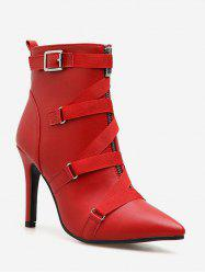 Strap Accent PU Leather Pointed Toe Boots -