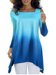 Ombre Open Shoulder Longline T-shirt -