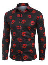 Halloween Skull Print Button Up Shirt -
